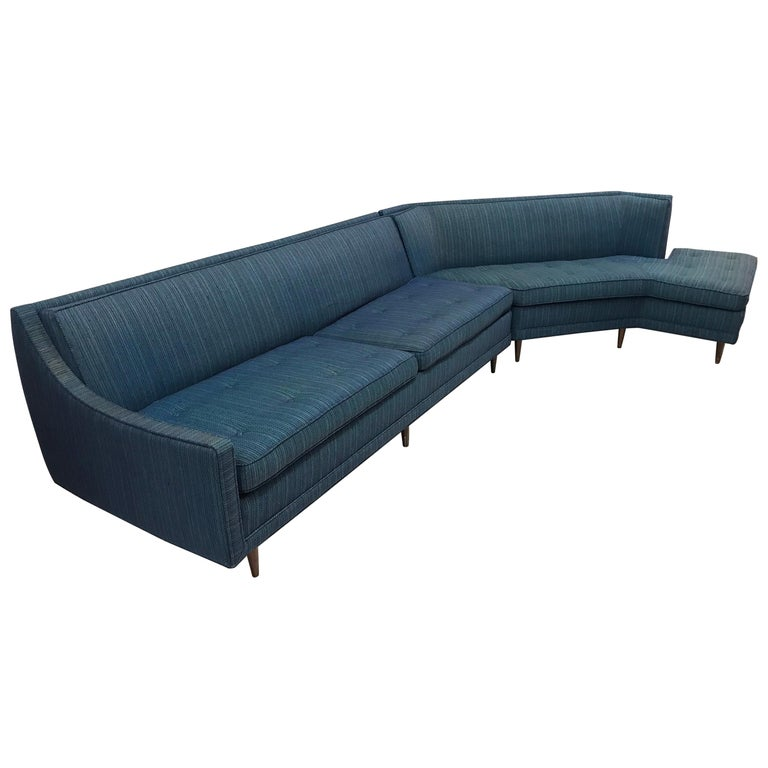 Mid Century Modern Blue Selig Two Piece Sculptural Curved Sectional Sofa For