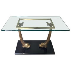 Brass Sculptural Koi Fish and Glass Console Table Made in Italy