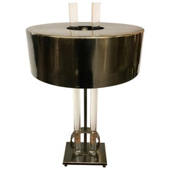 Mid-Century Modern Sleek Black Metal and Lucite Table Lamp