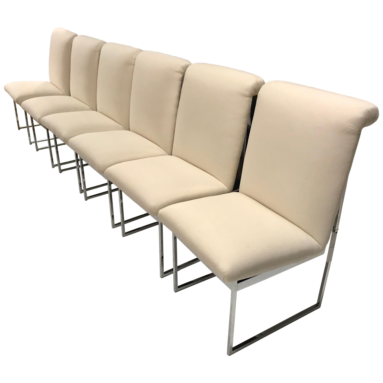 Set of Six Mid-Century Modern Milo Baughman Style Steel Chrome Dining Chairs