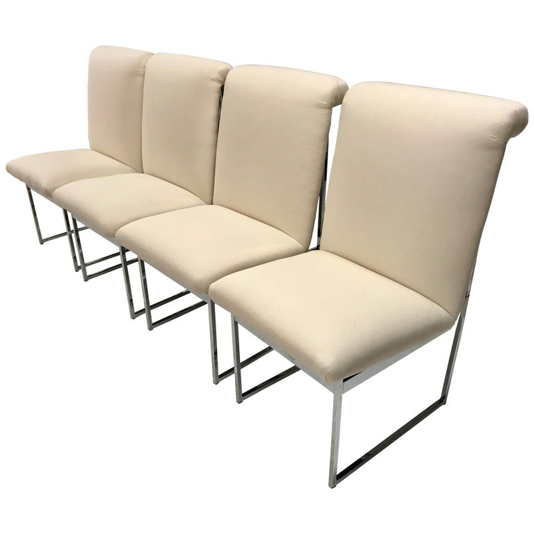 Set of Four Mid-Century Modern Milo Baughman Steel Chrome Dining Chairs For Sale
