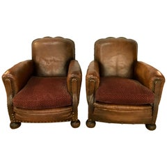 Pair of French Leather Cigar Club Chairs Armchairs