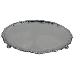 Traditional English Georgian Style Sterling Silver Salver Tray