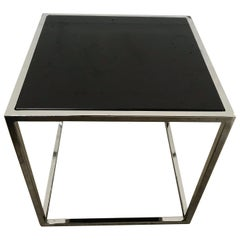 Milo Baughman Style Thin-Line Chrome and Black Glass Occasional Table