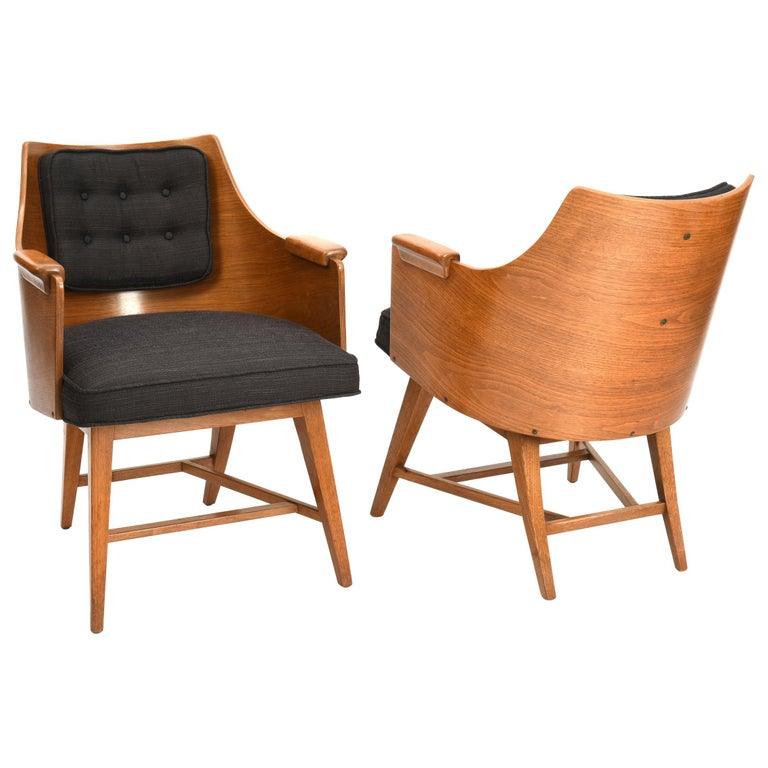Edward Wormley for Dunbar, Set of Four Rare Sculpted Back Dining Chairs, 1960s For Sale