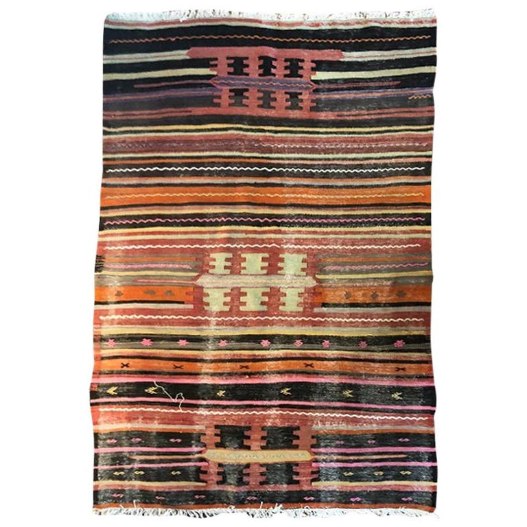 Vintage Turkish Oushak Striped Rug in Pink Orange Black Green and Yellow For Sale