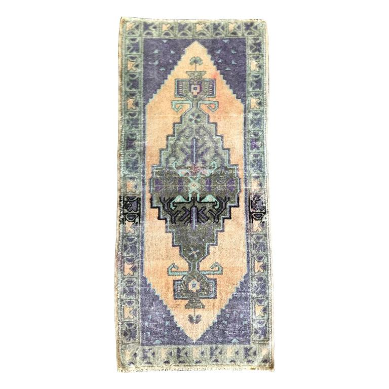 Woven Turkish Purple and Peach Rug For Sale
