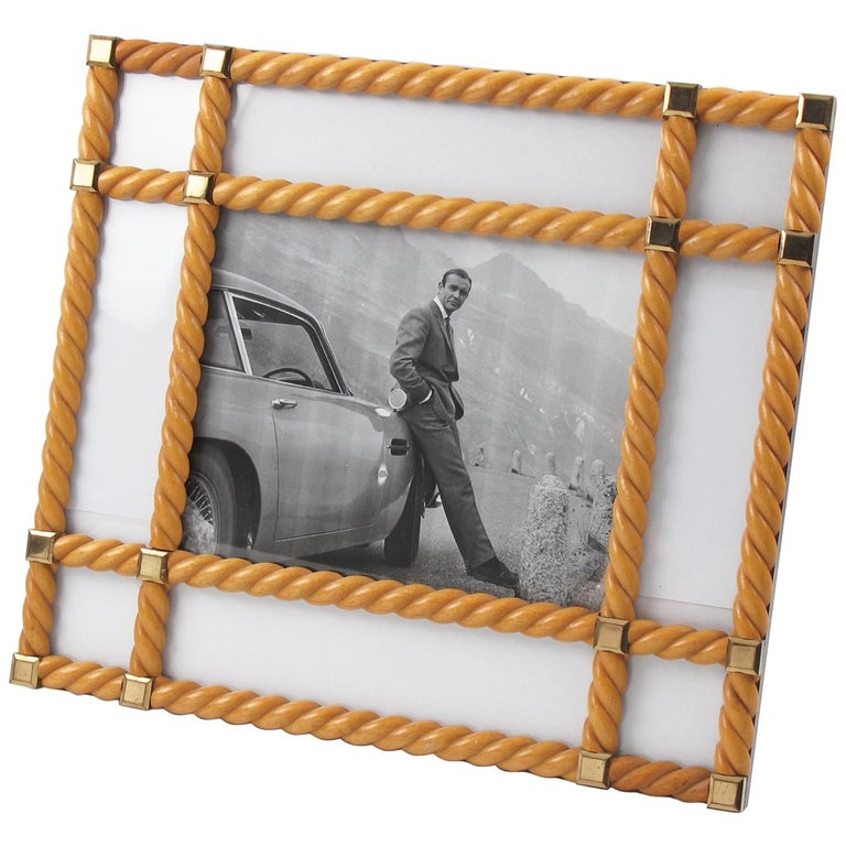 Italian Designer Noel BC Large Blond Carved Wood Picture Photo Frame For Sale