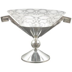 French Art Deco Silver Plate and Etched Glass Chalice Centerpiece Bowl