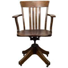 Antique Swivel Oak Desk Chair, circa 1930