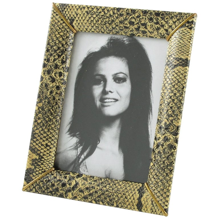 French Picture Photo Frame 1960s Vinyl Snake Skin Pattern For Sale