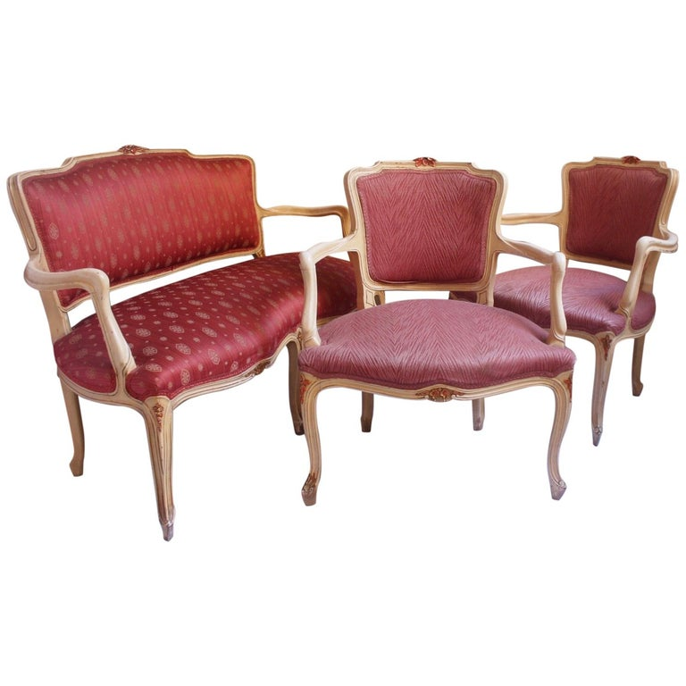 Midcentury Louis XV Style Neoclassical Hollywood Regency, Settee & Chairs, 1950s For Sale