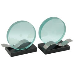 French Modernist Pair of Bookends Black Granite and Glass Slab with Etching