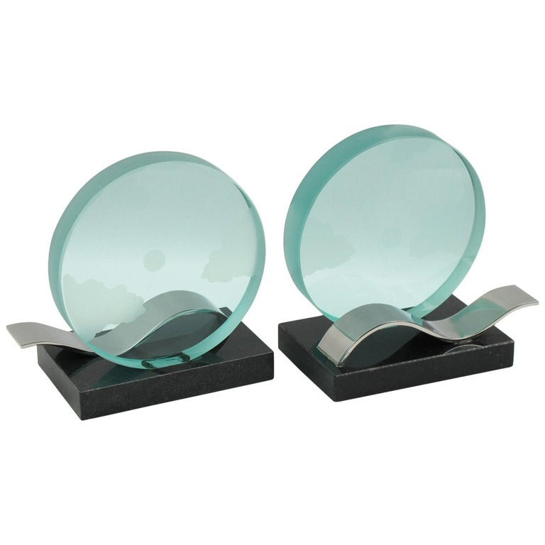 French Modernist Pair of Bookends Black Granite and Glass Slab with Etching For Sale