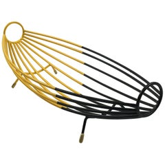 French 1960s Modernist Black and Yellow Metal and Brass Bowl Basket Centrepiece