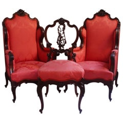 Midcentury Louis XV Style Red Silk Solid Wood Armchairs & Chair , 1950s