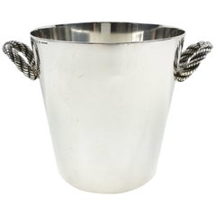 Hermes France Silver Plate Ice Bucket Wine Cooler with Nautical Rope Design