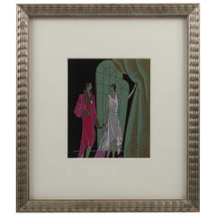 J. Hilly Original French Art Deco Ink and Gouache Illustration Drawing