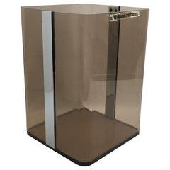 Michel Dumas for Roche Bobois 1970s Smoked Lucite and Chrome Paper Waste Basket