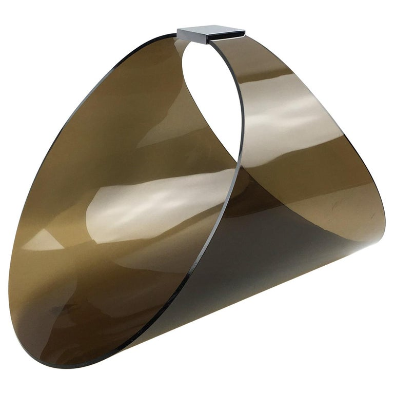 Roche Bobois 1970s Smoked Lucite and Chrome Magazine Rack Stand For Sale