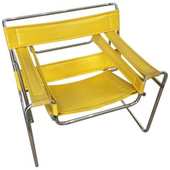 Marcel Breuer Wassily Style Yellow PVC Leather and Steel Chair Armchair