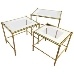 Maison Bagues France Trio of Brass Nesting Stacking Table, Faux Bamboo Design