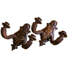 Pair of Wooden Two-Arm Sconces