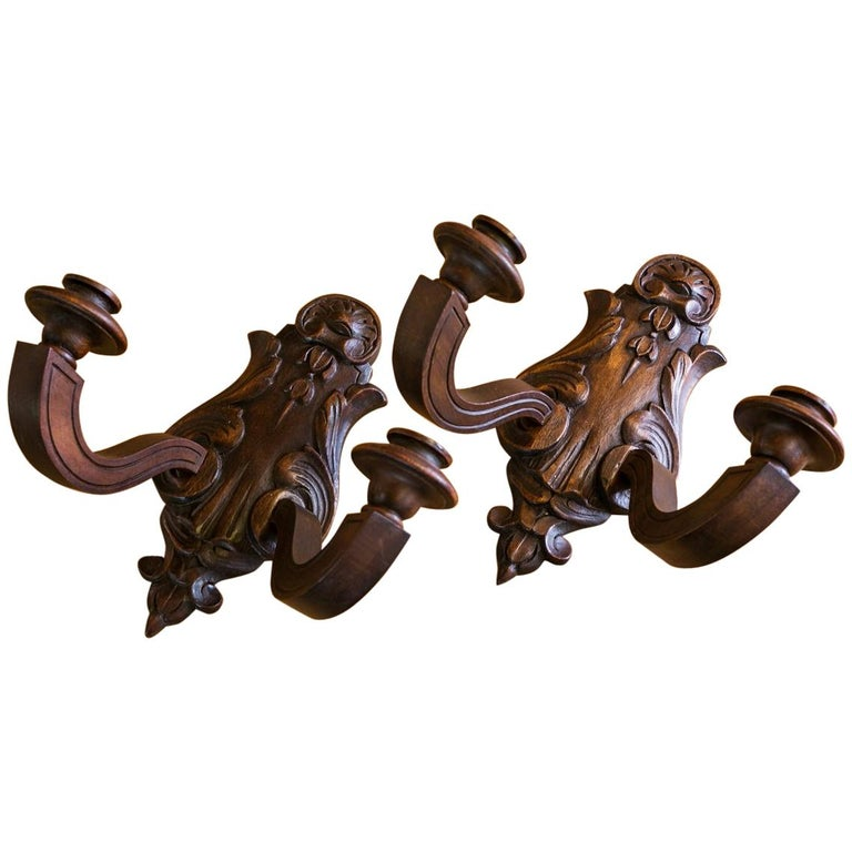 Pair of Wooden Two-Arm Sconces For Sale