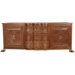 Asian Finely Hand Carved Sideboard from Java, Indonesia