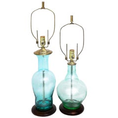 Blenko Midcentury Seafoam & Aqua Art Glass Table Lamp Pair, Scandinavian Modern
