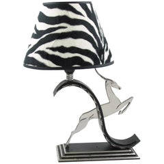 Michel Zadounaisky French Art Deco Jumping Antelope Wrought Iron Table Lamp