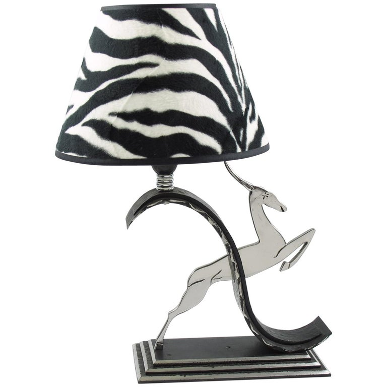 Michel Zadounaisky French Art Deco Jumping Antelope Wrought Iron Table Lamp For Sale