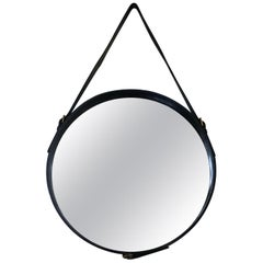 Jacques Adnet 1950s Hand-Stitched Black Leather Wall Mirror