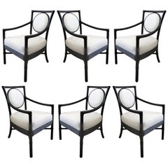 McGuire Rattan Dining Chairs with Leather Bindings in Linen Upholstery, Set of 6