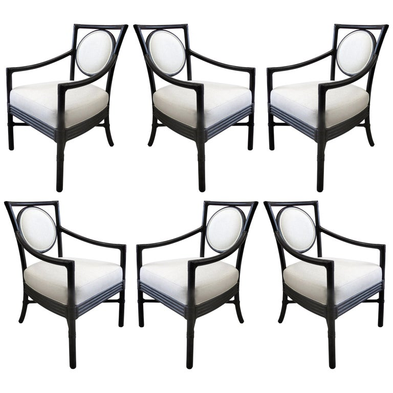 McGuire Rattan Dining Chairs with Leather Bindings in Linen Upholstery, Set of 6 For Sale