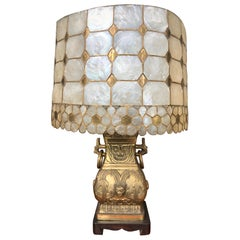 Vintage Mid-Century Modern Oriental Brass Table Lamp