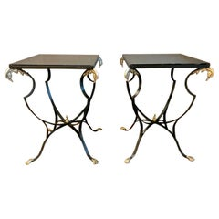 Pair of French Art Deco Forged Iron and Brass Side Tables