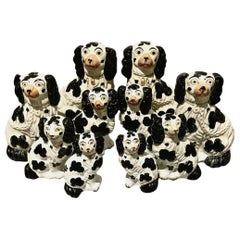 Set of 6 Pairs of Graduated Staffordshire Spaniels, circa 1850