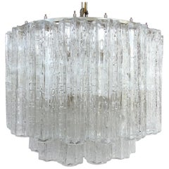 Mid-Century Modern Venini Blown Glass Chandelier with Two Tiers, Italy