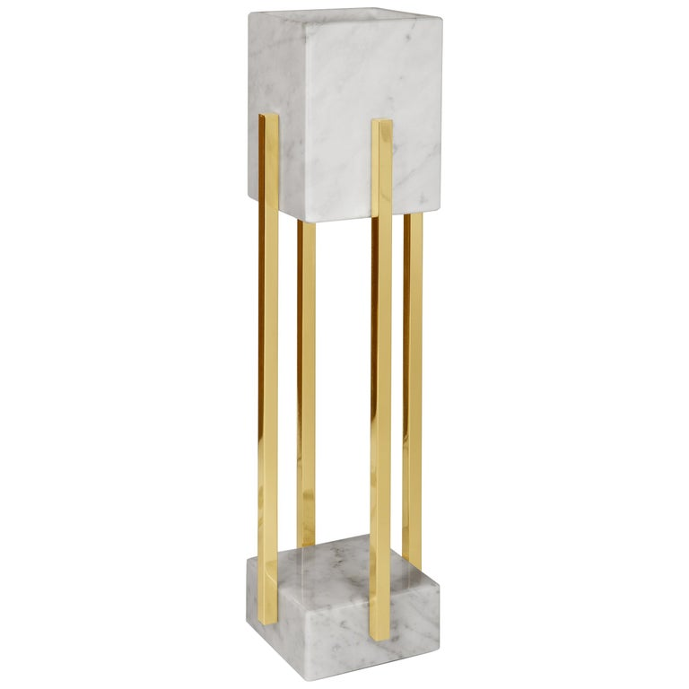 Carrara Marble And Polished Brass Table Lamp Handcrafted For Sale At