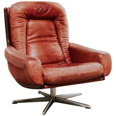 Midcentury Design Red Leather Swivel Armchair