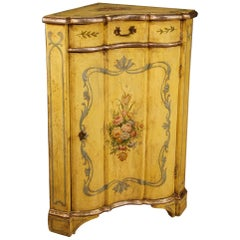20th Century Yellow Lacquered And Painted Wood Venetian Corner Cabinet, 1960