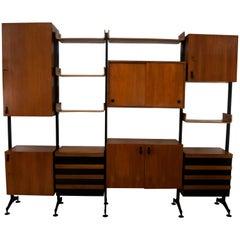 Campo & Graffi Mid-Century Modern Teak Italian Modular Bookcase, 1958