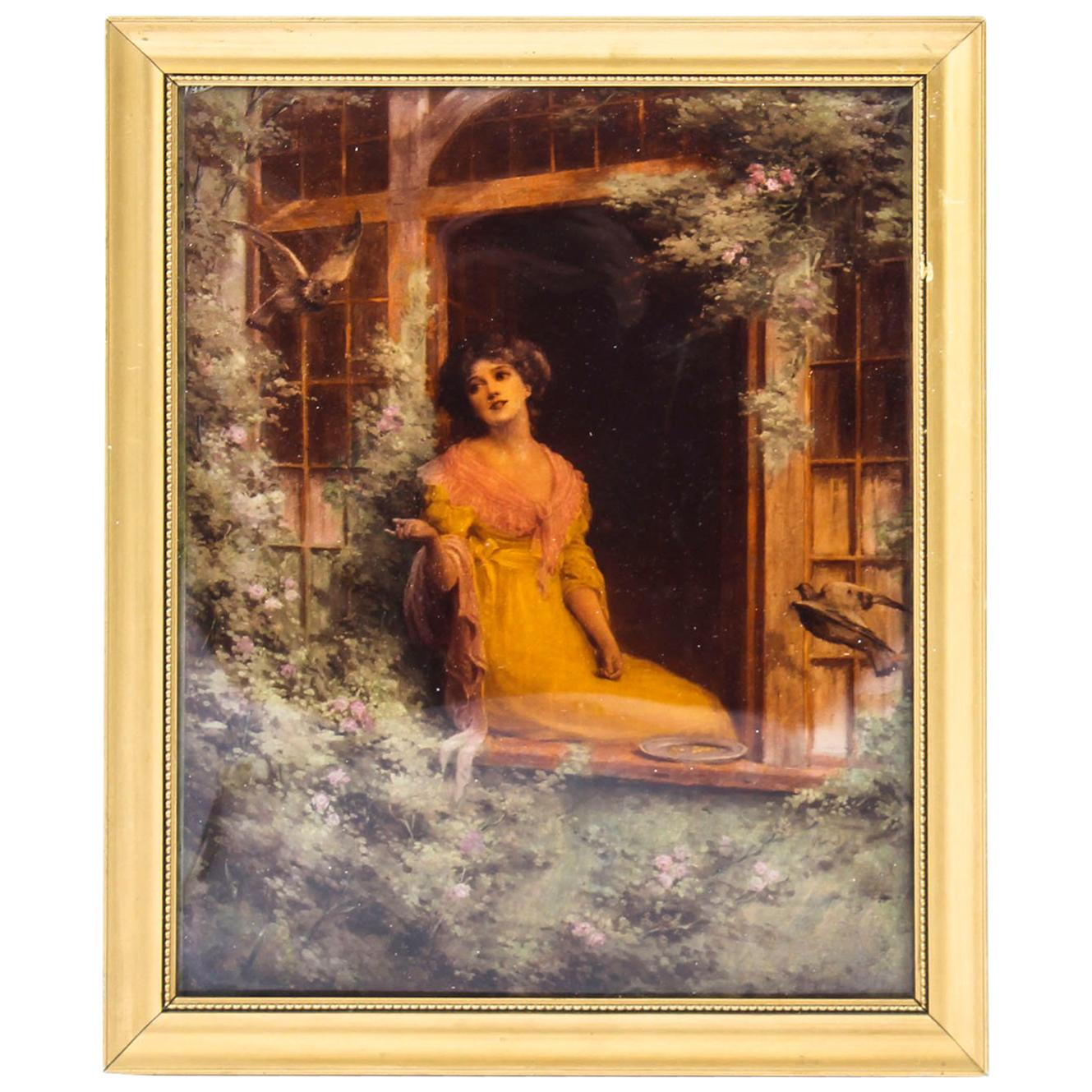 Antique Victorian Crystoleum Picture Painting of a Lady by a Window 19th Century