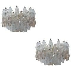 Carlo Scarpa Mid-Century Modern Venini Pair of Model Poliedri Lamps