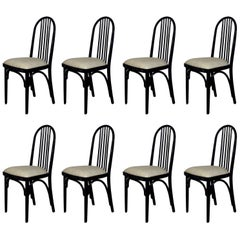 1918-1920 Set of Eight Chairs Model 639 by Thonet, Cotton, Czechoslovakia