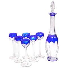 Art-Deco-Kristallblau Liquor Service Dekanter und Gläser