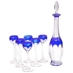 Art Deco Crystal Blue Liquor Service Decanter and Glasses