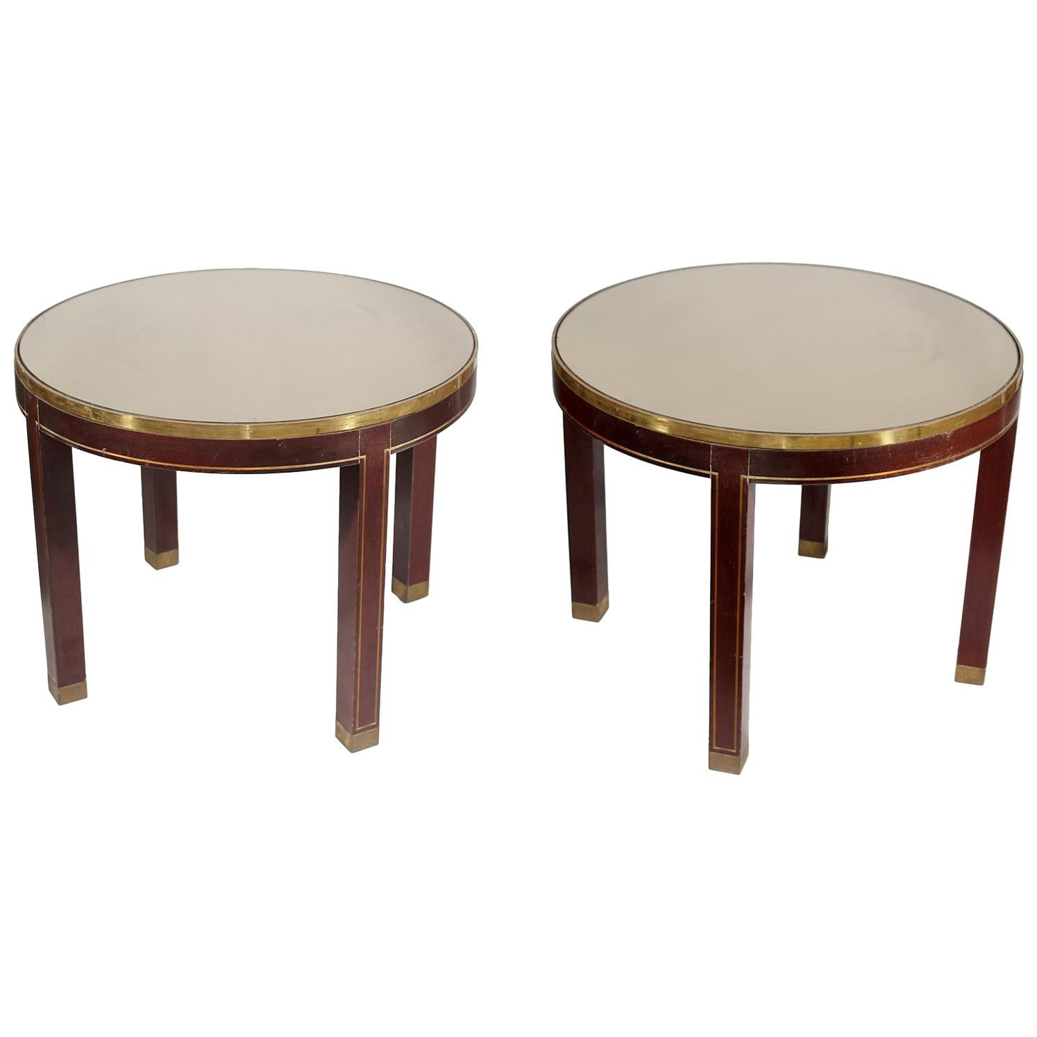 Spanish 1970s Pair of Round Mahogany Wood and Brass Side Tables