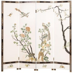 19th Century Chinese Screen with Semiprecious Hard Stone Decorations